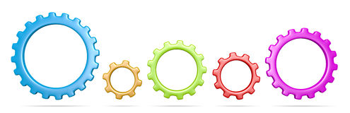 Gears Collection. Five Plastic Colorful Gears Collection 3D Illustration  on White Background Stock Image
