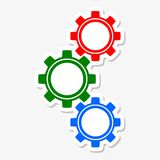 Gears color. On gray background Stock Photo