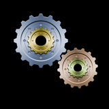 Gears (Color version). Drawing of connected gears. Great for web layouts. This is the colorized version without belt Stock Photography