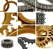 Gears composition. Composition using many golden and gray gears Royalty Free Stock Photos