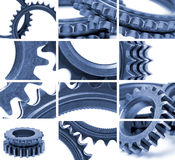 Gears composition in blue Royalty Free Stock Image