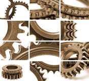 Gears composition in sepia Royalty Free Stock Images