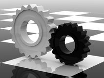 Gears concept. Gears technologi concept 3d model Stock Photos