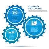 Gears-concept-of-investing-infographics-flat-style. Businness insurance vector illustration EPS 10. Abstract background for chart process service the insurance Stock Photo