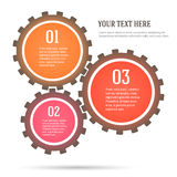 Gears-concept-mechanics-infographics-flat-style. Colorful Number Options Banner & Card design elements. Vector illustration. Abstract background for infographics stock illustration