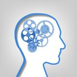 Gears in the contour the human head Royalty Free Stock Photo