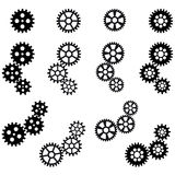 Gears for cooperation symbolism. Collection of black gears for cooperation or teamwork symbolism Stock Image