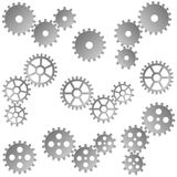 Gears for cooperation symbolism. Collection of gray gears for cooperation or teamwork symbolism Royalty Free Stock Photos