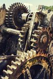 Gears corroded by rust. Old machinery with its gears rusted and corroded by time stock photo