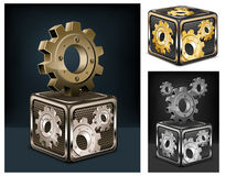 Gears in cube Royalty Free Stock Photos