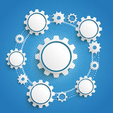 Gears Cycle Infographic Blue Background. Infographic design on the grey background Royalty Free Stock Photo