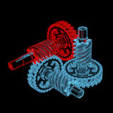 Gears (3D xray red and blue transparent). Gears (3D xray red and blue transparent isolated on black background Royalty Free Stock Images