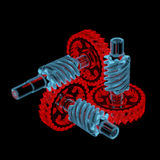 Gears (3D xray red and blue transparent). Gears (3D xray red and blue transparent isolated on black background Royalty Free Stock Photography