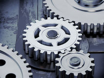Gears on dark background Stock Image