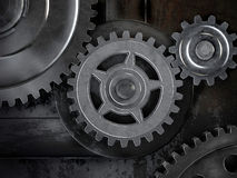 Gears on dark background Royalty Free Stock Image