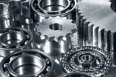 Gears in dark metallic tone Stock Photos