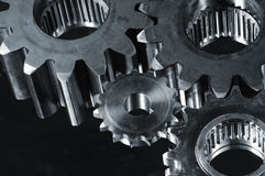 Gears in dark metallic tone Stock Photography
