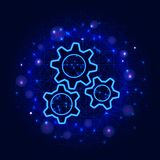 Gears design. Vector low poly wireframe three gear modern flat illustration on abstract blue polygonal background. royalty free illustration