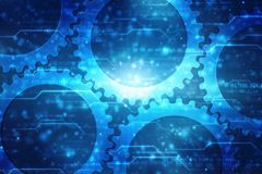 Gears on digital background, Digital Abstract Technology Background, Mechanical and engineering background. Data concept: Gears on digital background, Digital royalty free illustration