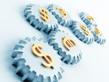 Gears with dollar and euro. Linked metallic gears with dollar and euro symbols Stock Photo