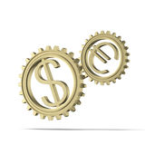 Gears with dollar and euro symbols. Isolated on a white background. 3d render vector illustration