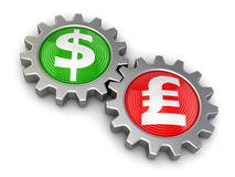 Gears with Dollar and Pound (clipping path included) Royalty Free Stock Image