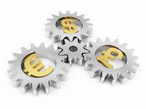 Gears with dollar pound and euro signs Royalty Free Stock Image