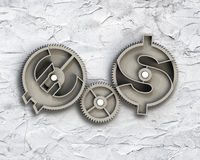 Gears with dollar sign and euro symbol. Stock Images