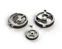 Gears with dollar sign and euro symbol, 3D illustration. Gears with dollar sign and euro symbol, isolated on white, 3D illustration Stock Images