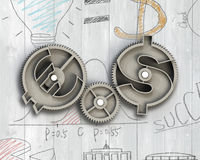 Gears with dollar sign and euro symbol. Gears with dollar sign and euro symbol, on doodles wooden background Royalty Free Stock Photography