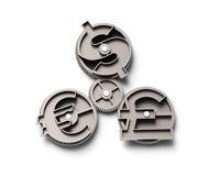 Gears with dollar sign, pound and euro symbol, 3D illustration. Stock Images