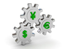 Gears with dollar yen and euro signs Royalty Free Stock Images