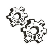 Gears. Doodle. Vector illustration Stock Photo