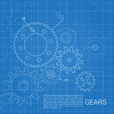 Gears drawing background Royalty Free Stock Photos