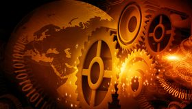 Gears with earth globe stock illustration