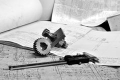Gears and electronic calliper Royalty Free Stock Image