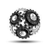 Gears in engagement. Engineering drawing abstract industrial background with a cogwheels. Royalty Free Stock Photos