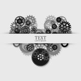 Gears in engagement. Engineering drawing abstract industrial background with a cogwheels. Royalty Free Stock Image