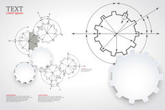 Gears in engagement. Engineering drawing abstract industrial background with a cogwheels. Stock Photography