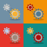 2 Gears Engine Flat Design. 2 gears with drive chain, 4 variations Royalty Free Stock Photography