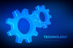 Gears. Engineering Gear wheels. 3D wireframe mesh Gear. Mechanical technology machine engineering symbol. Industry. Development, engine work, business solution stock illustration