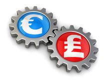 Gears with euro and Pound (clipping path included) Royalty Free Stock Photos