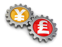 Gears with euro and Pound (clipping path included) Stock Photography