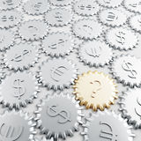 Gears with financial symbols. Linked metallic gears with dollar and euro symbols royalty free illustration