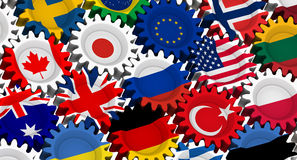The gears with the flags of countries Stock Photography