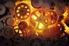 Gears in flames. 3d illustration Stock Photography