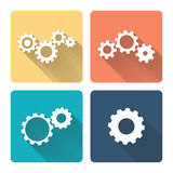 Gears. Flat design illustration. Gears on color background. Flat design illustration Stock Photography
