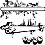 Gears and flowers banner. Vector banner with gears and swirls Stock Photos