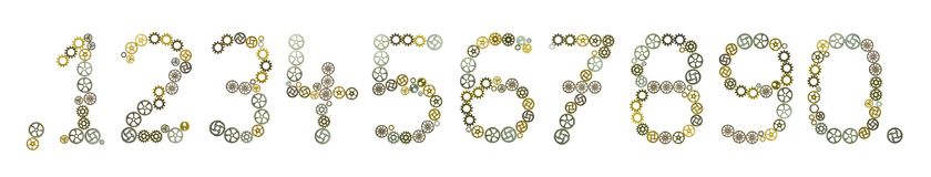 Numbers. Gears form numerals in front of white background Royalty Free Stock Photo