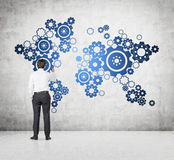 Gears in form world map Royalty Free Stock Photos